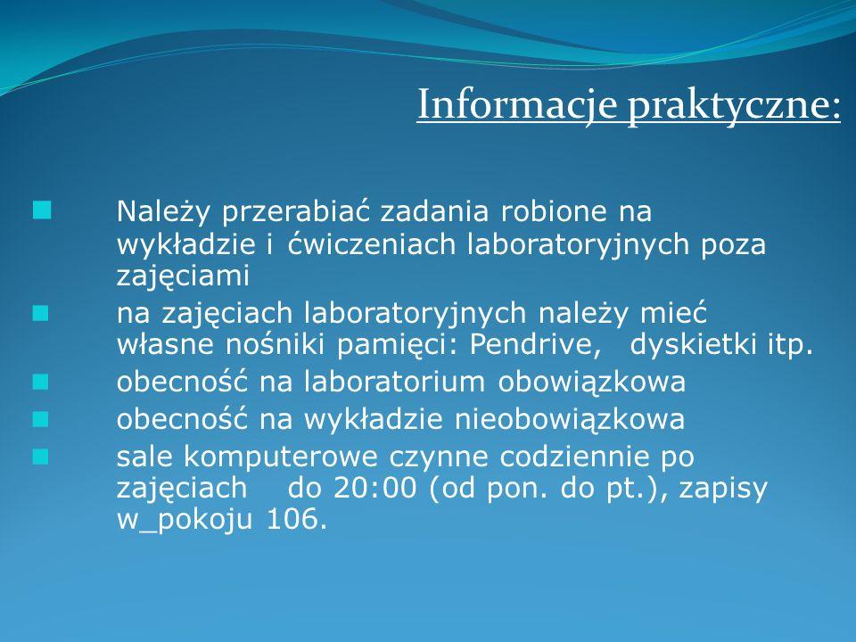 Informacje praktyczne: