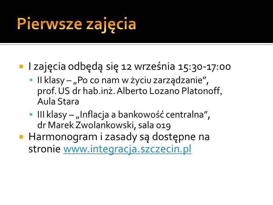 Pierwsze zajęcia I zajęcia odbędą się 12 września 15:30-17:00