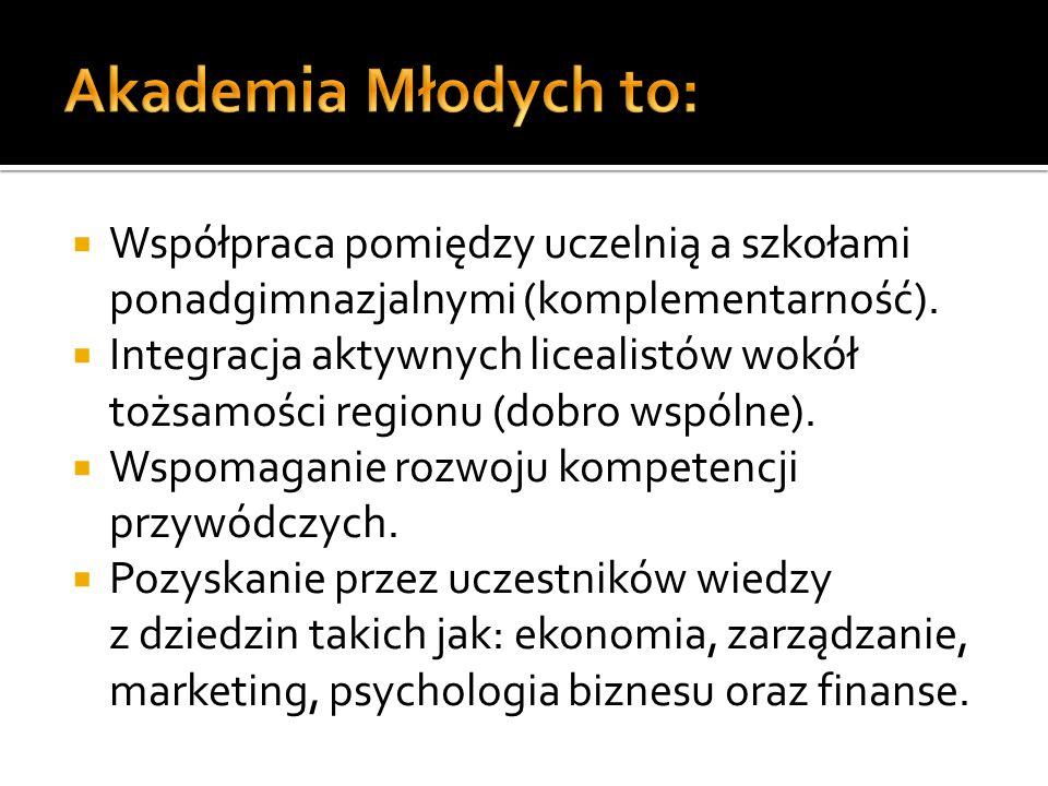 Akademia Młodych to: Współpraca pomiędzy uczelnią a szkołami ponadgimnazjalnymi (komplementarność).