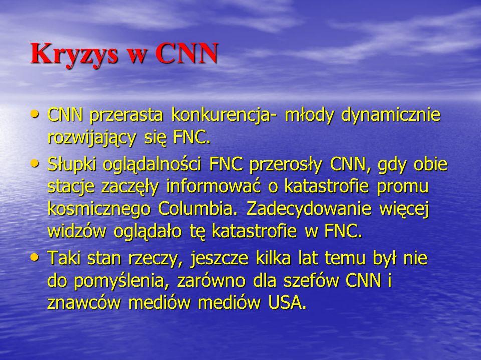 Kryzys w CNN CNN przerasta konkurencja- młody dynamicznie rozwijający się FNC.