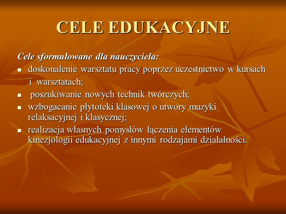 CELE EDUKACYJNE Cele sformułowane dla nauczyciela: