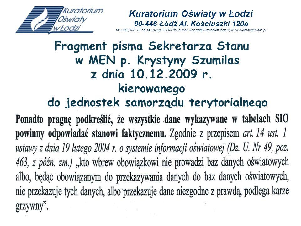 Fragment pisma Sekretarza Stanu w MEN p. Krystyny Szumilas