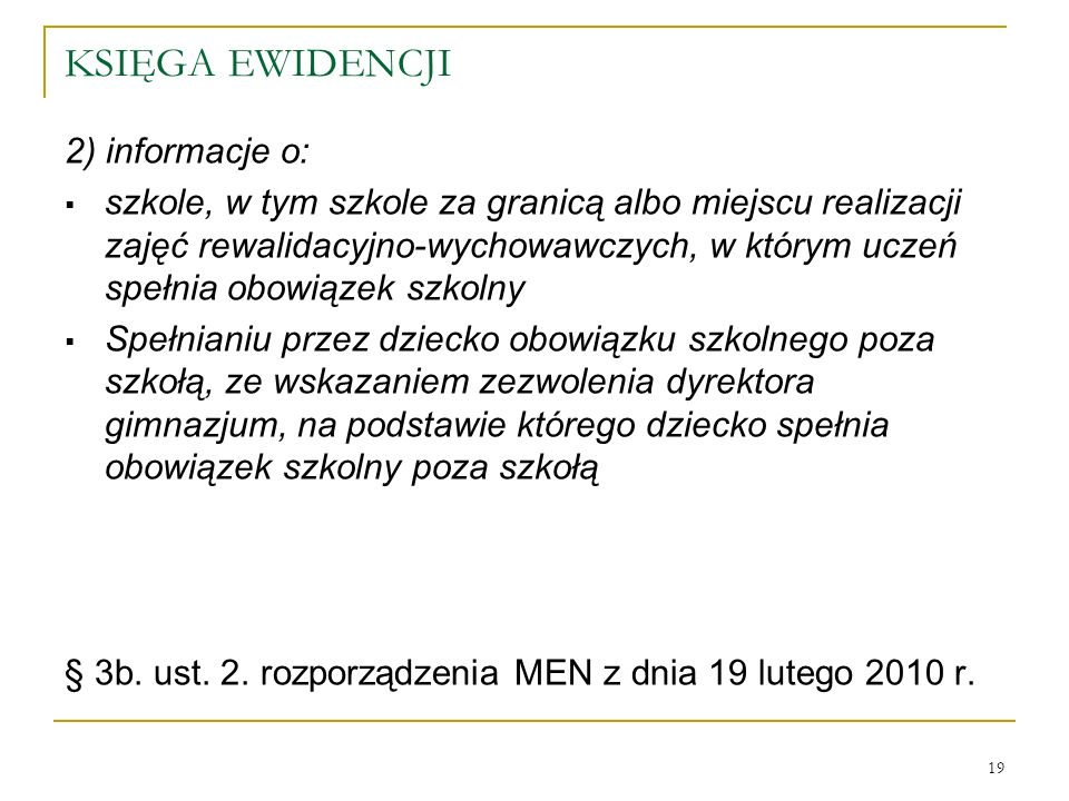 KSIĘGA EWIDENCJI 2) informacje o: