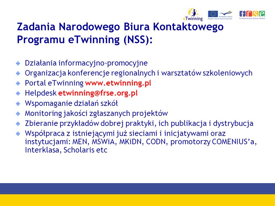 Zadania Narodowego Biura Kontaktowego Programu eTwinning (NSS):