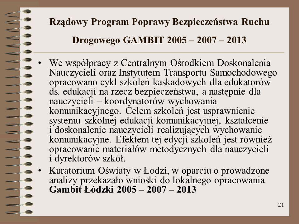 Rządowy Program Poprawy Bezpieczeństwa Ruchu Drogowego GAMBIT 2005 – 2007 – 2013