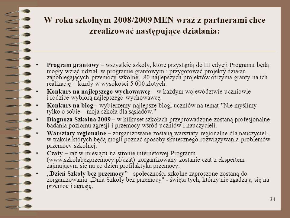 W roku szkolnym 2008/2009 MEN wraz z partnerami chce zrealizować następujące działania: