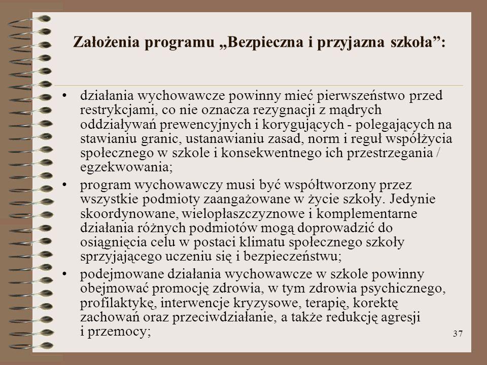 """Założenia programu """"Bezpieczna i przyjazna szkoła :"""