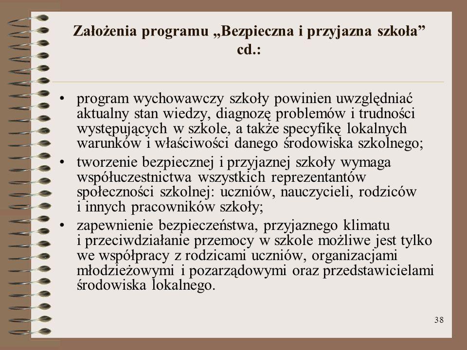 """Założenia programu """"Bezpieczna i przyjazna szkoła cd.:"""