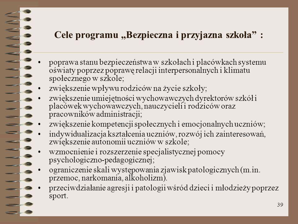 """Cele programu """"Bezpieczna i przyjazna szkoła :"""