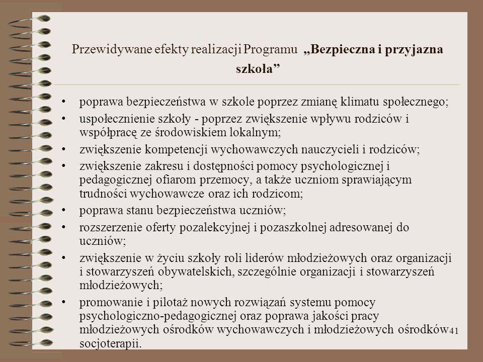 """Przewidywane efekty realizacji Programu """"Bezpieczna i przyjazna szkoła"""