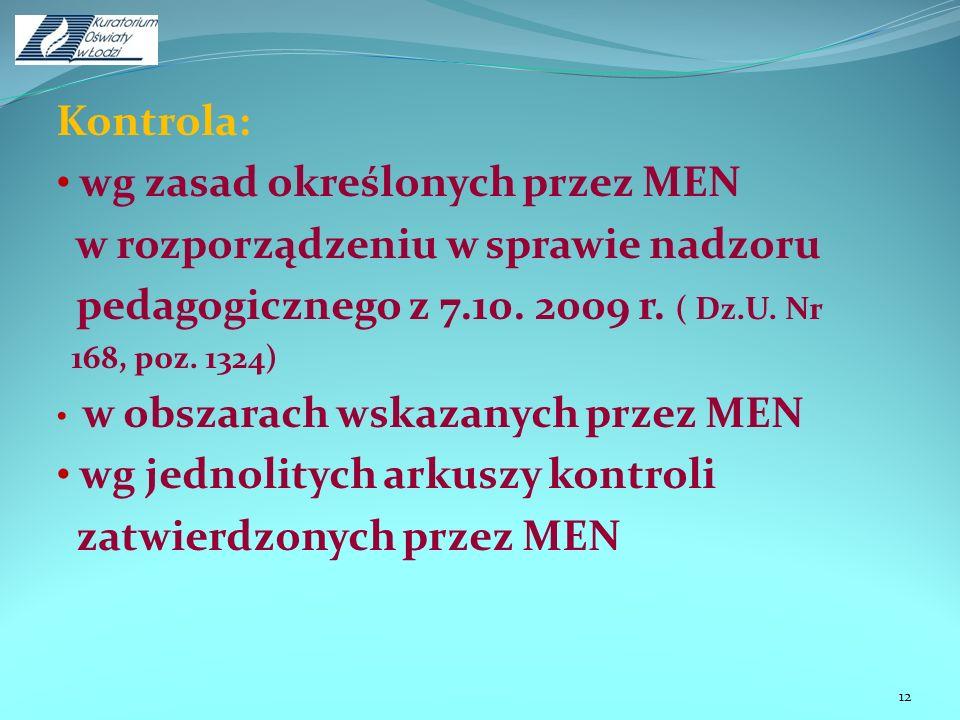 wg zasad określonych przez MEN w rozporządzeniu w sprawie nadzoru