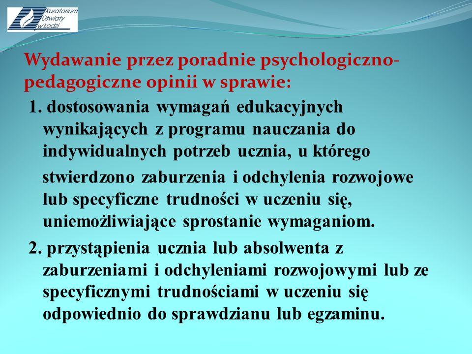 Wydawanie przez poradnie psychologiczno- pedagogiczne opinii w sprawie: