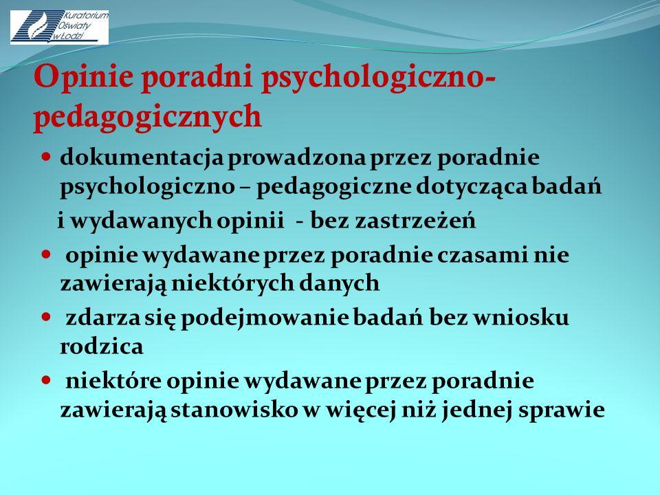 Opinie poradni psychologiczno-pedagogicznych