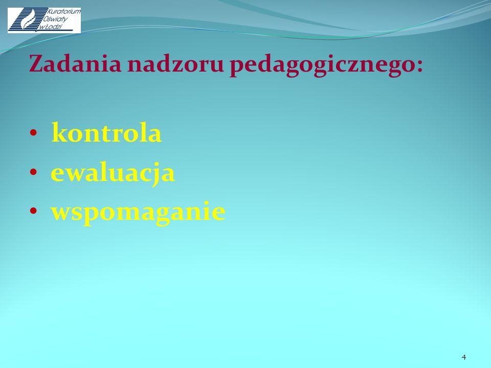 Zadania nadzoru pedagogicznego:
