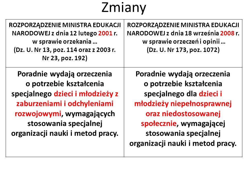 Zmiany ROZPORZĄDZENIE MINISTRA EDUKACJI NARODOWEJ z dnia 12 lutego 2001 r. w sprawie orzekania …