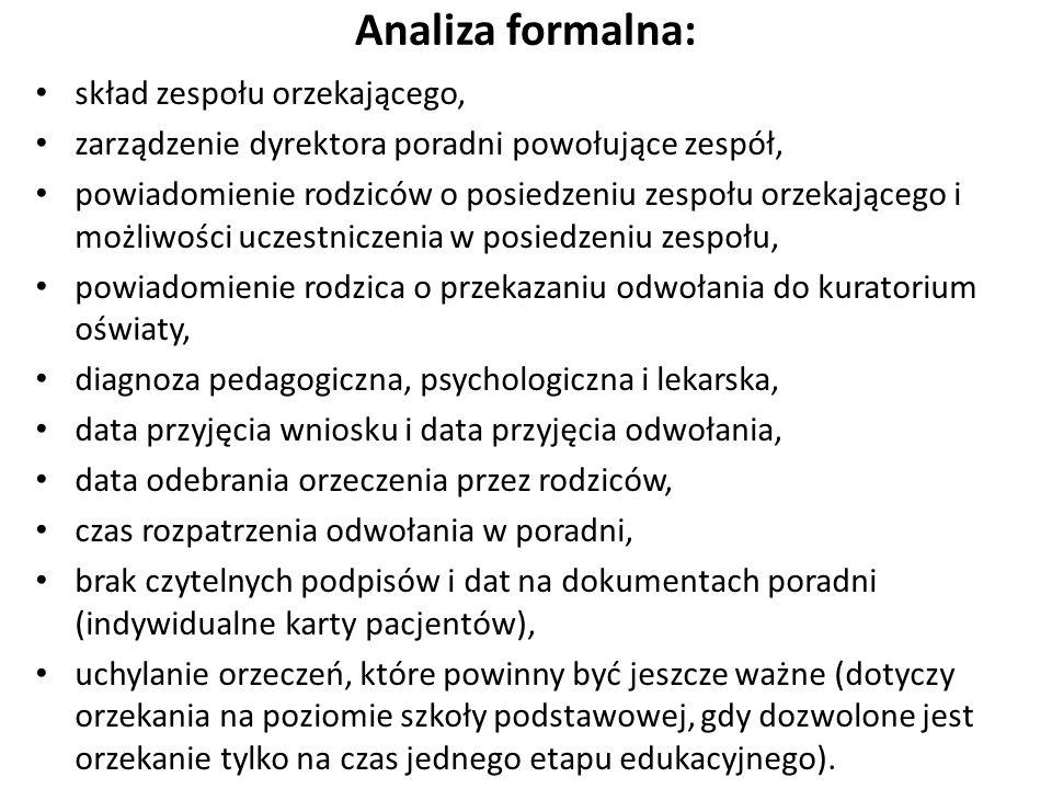 Analiza formalna: skład zespołu orzekającego,