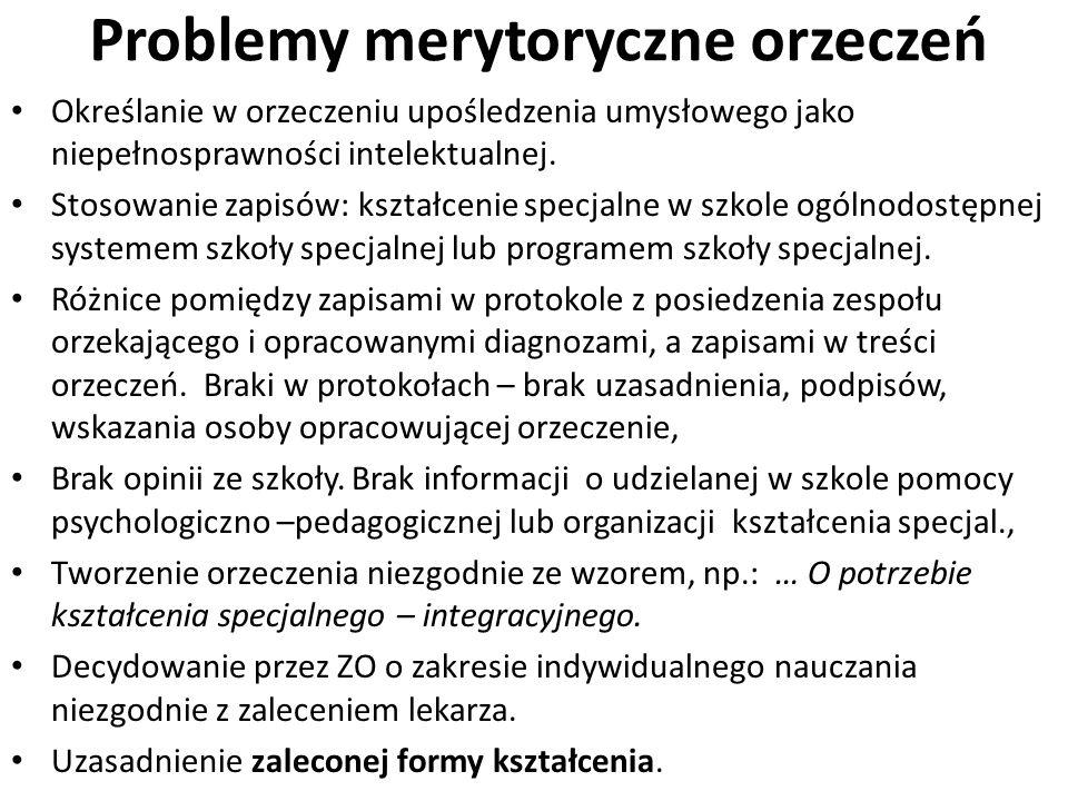 Problemy merytoryczne orzeczeń