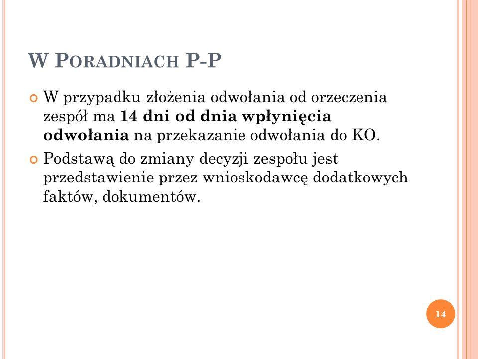 W Poradniach P-P W przypadku złożenia odwołania od orzeczenia zespół ma 14 dni od dnia wpłynięcia odwołania na przekazanie odwołania do KO.