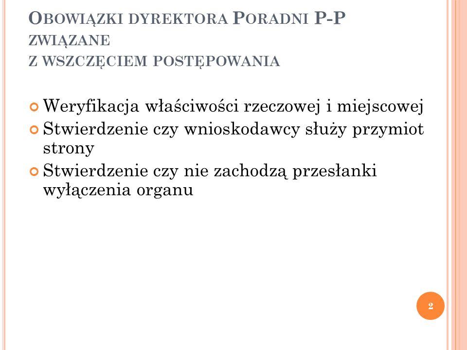 Obowiązki dyrektora Poradni P-P związane z wszczęciem postępowania