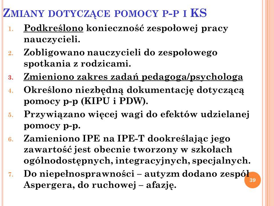 Zmiany dotyczące pomocy p-p i KS