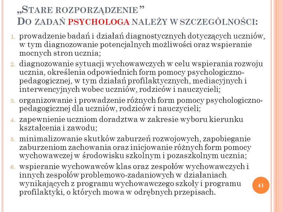 """""""Stare rozporządzenie Do zadań psychologa należy w szczególności:"""