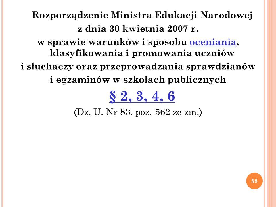 Rozporządzenie Ministra Edukacji Narodowej z dnia 30 kwietnia 2007 r