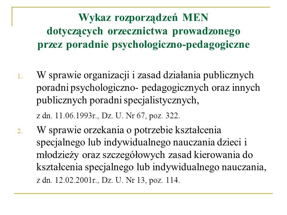 Wykaz rozporządzeń MEN dotyczących orzecznictwa prowadzonego przez poradnie psychologiczno-pedagogiczne