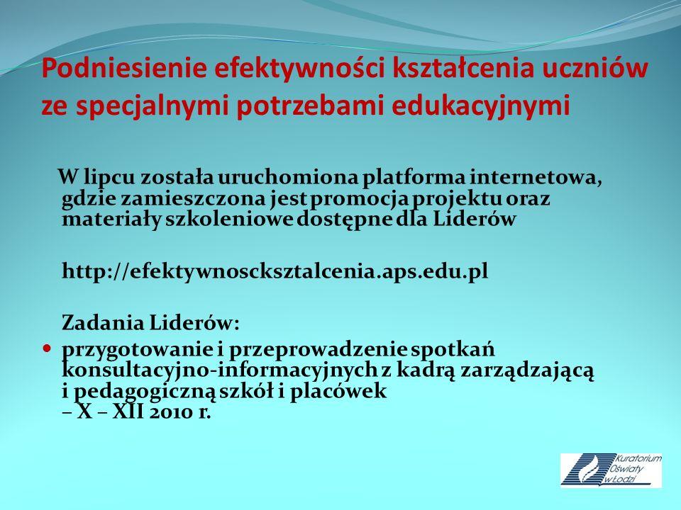 Podniesienie efektywności kształcenia uczniów ze specjalnymi potrzebami edukacyjnymi