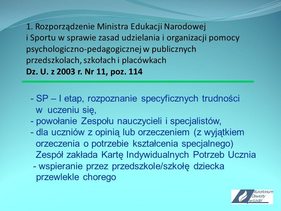 1. Rozporządzenie Ministra Edukacji Narodowej i Sportu w sprawie zasad udzielania i organizacji pomocy psychologiczno-pedagogicznej w publicznych przedszkolach, szkołach i placówkach