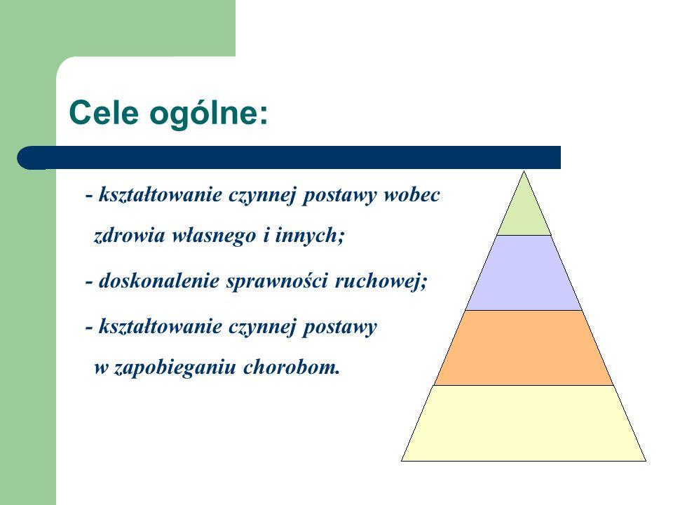 Cele ogólne: - kształtowanie czynnej postawy wobec zdrowia własnego i innych; - doskonalenie sprawności ruchowej;