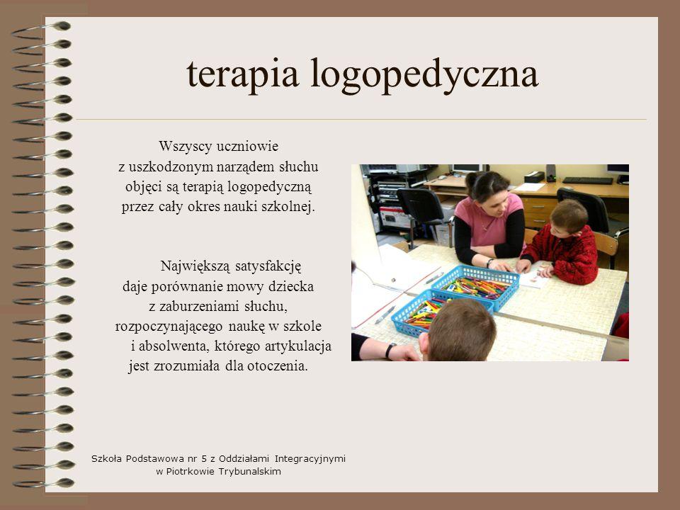 terapia logopedyczna Wszyscy uczniowie z uszkodzonym narządem słuchu