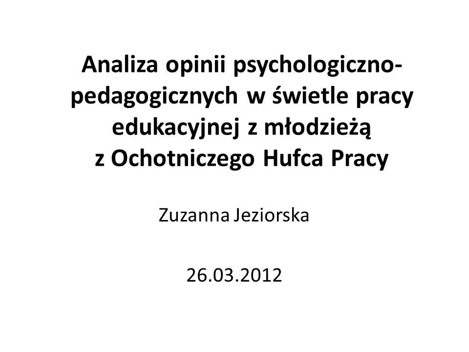 Analiza opinii psychologiczno-pedagogicznych w świetle pracy edukacyjnej z młodzieżą z Ochotniczego Hufca Pracy