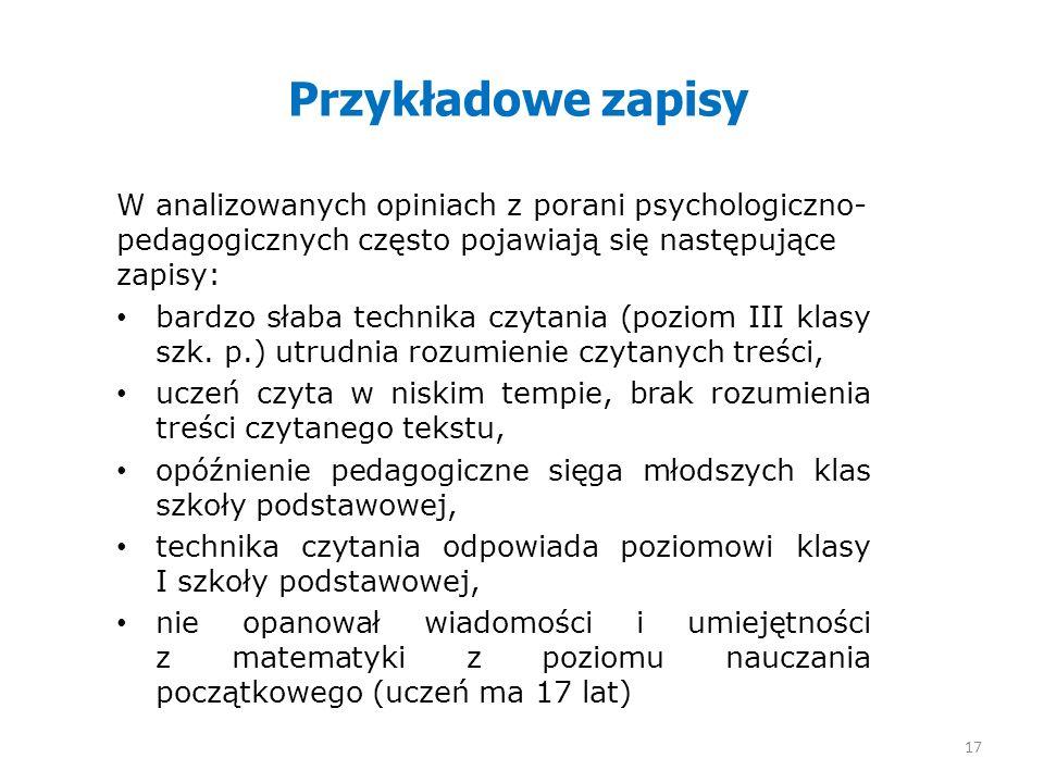 Przykładowe zapisy W analizowanych opiniach z porani psychologiczno-pedagogicznych często pojawiają się następujące zapisy: