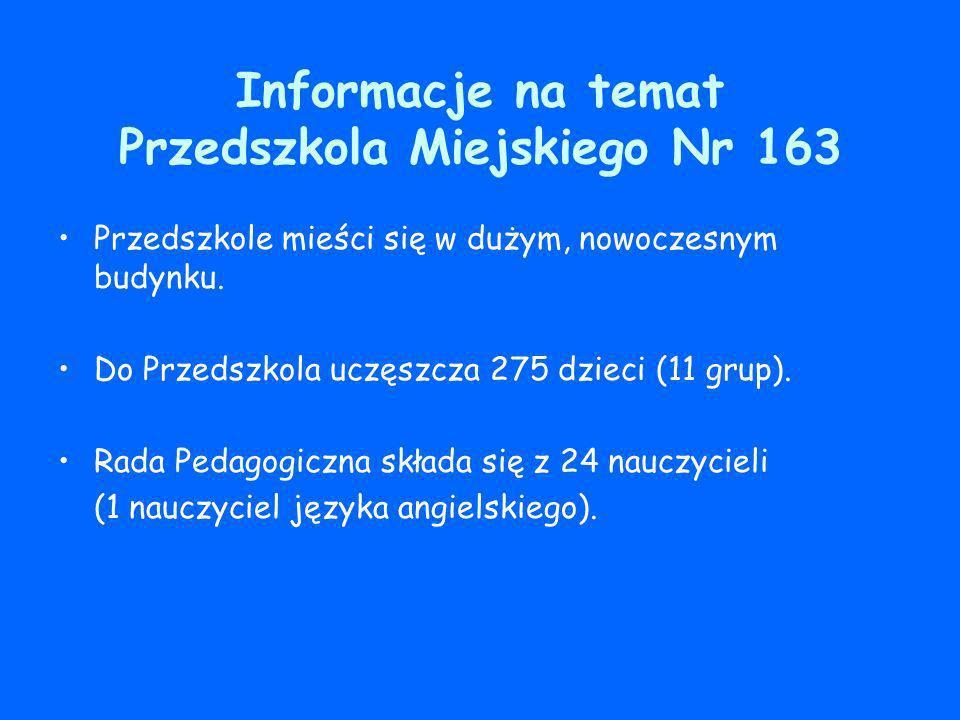 Informacje na temat Przedszkola Miejskiego Nr 163