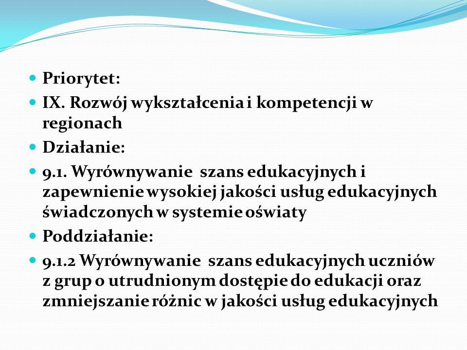 Priorytet: IX. Rozwój wykształcenia i kompetencji w regionach. Działanie: