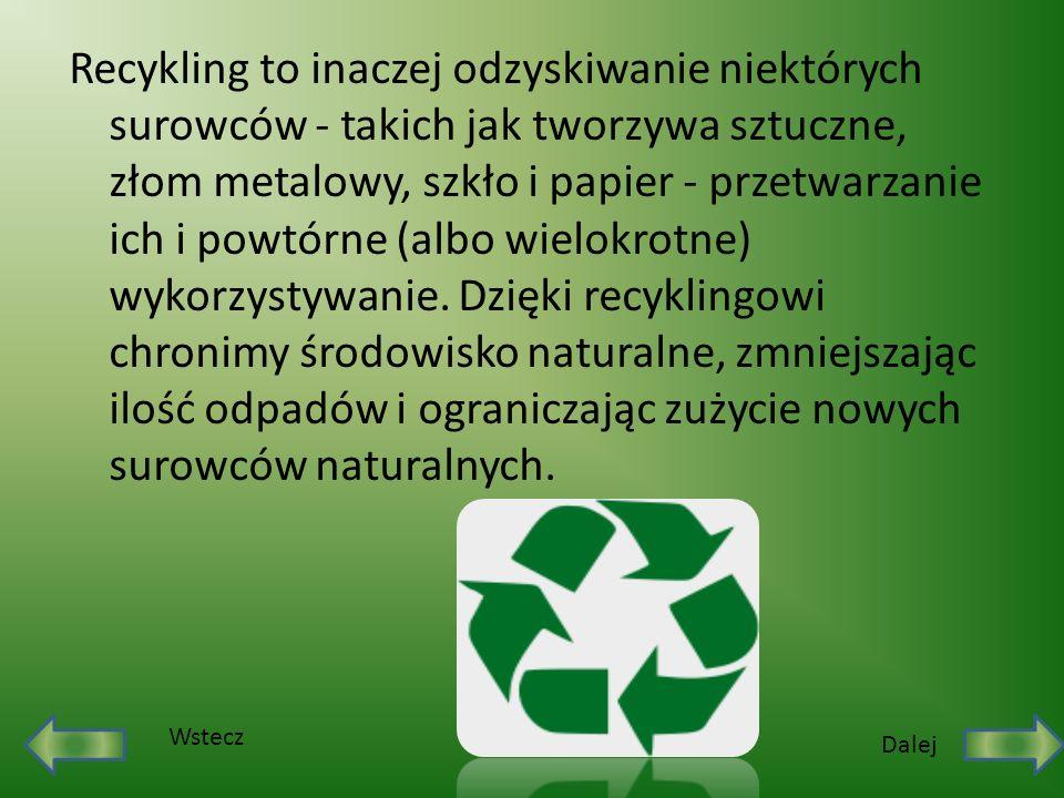 Recykling to inaczej odzyskiwanie niektórych surowców - takich jak tworzywa sztuczne, złom metalowy, szkło i papier - przetwarzanie ich i powtórne (albo wielokrotne) wykorzystywanie. Dzięki recyklingowi chronimy środowisko naturalne, zmniejszając ilość odpadów i ograniczając zużycie nowych surowców naturalnych.