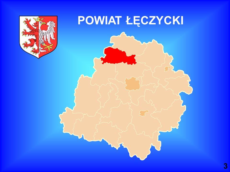 POWIAT ŁĘCZYCKI Usytuowanie powiatu w województwie łódzkim. Nie należy do największych obszarowo.