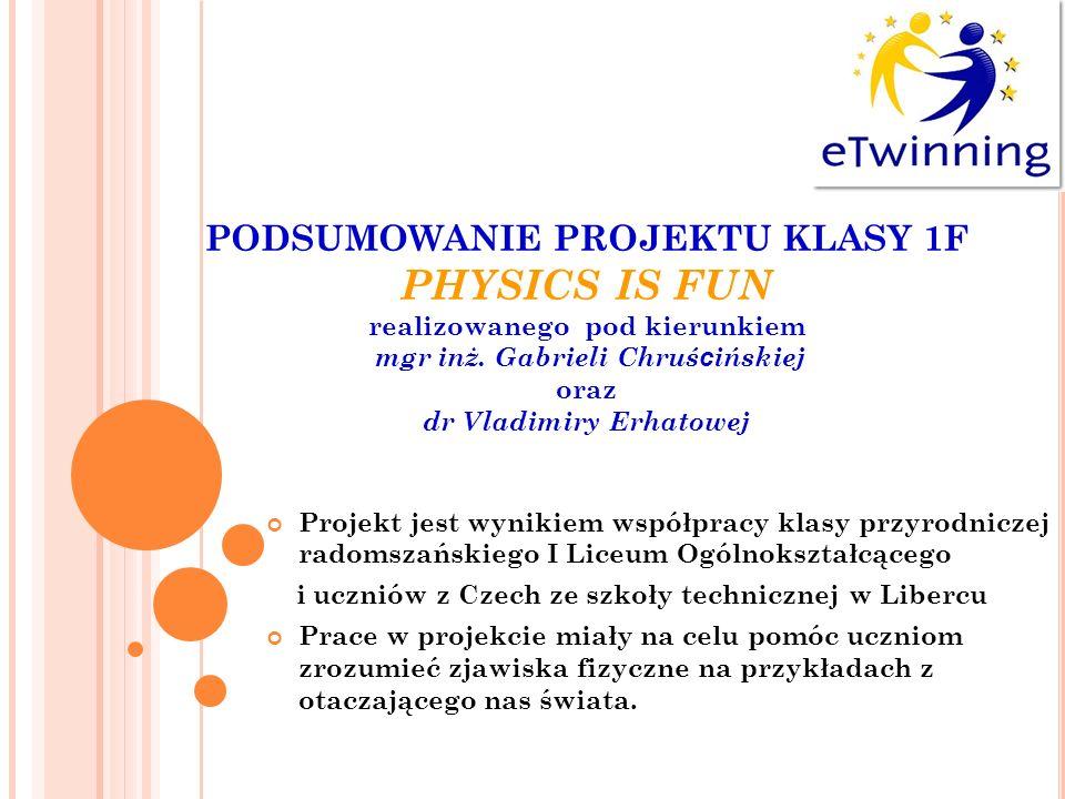 PODSUMOWANIE PROJEKTU KLASY 1F PHYSICS IS FUN realizowanego pod kierunkiem mgr inż. Gabrieli Chruścińskiej oraz dr Vladimiry Erhatowej