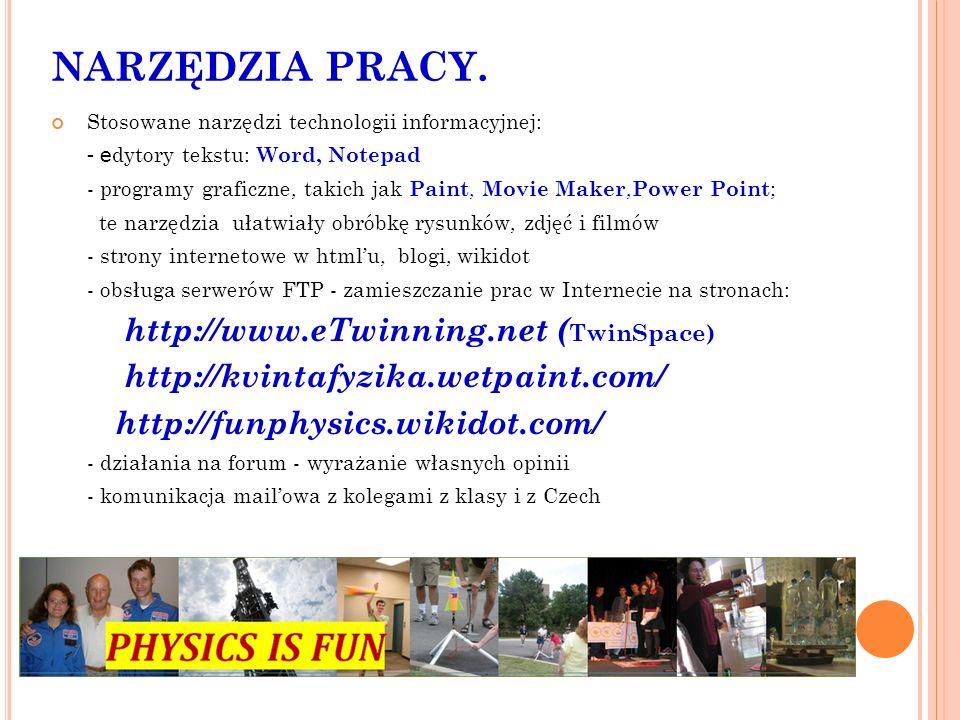 NARZĘDZIA PRACY. http://www.eTwinning.net (TwinSpace)