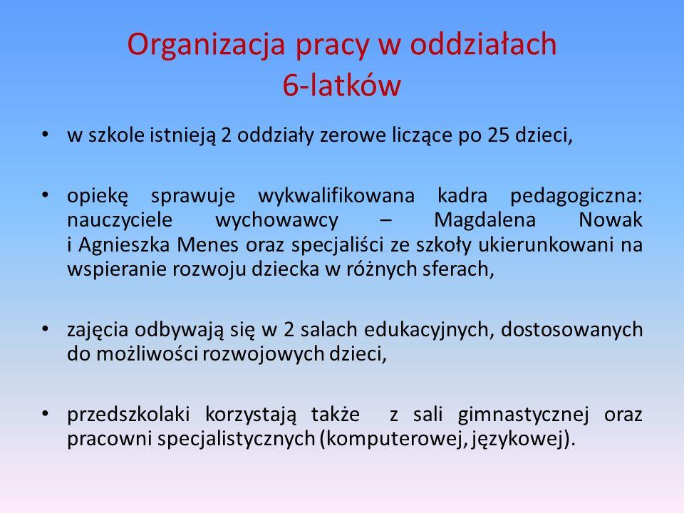 Organizacja pracy w oddziałach 6-latków