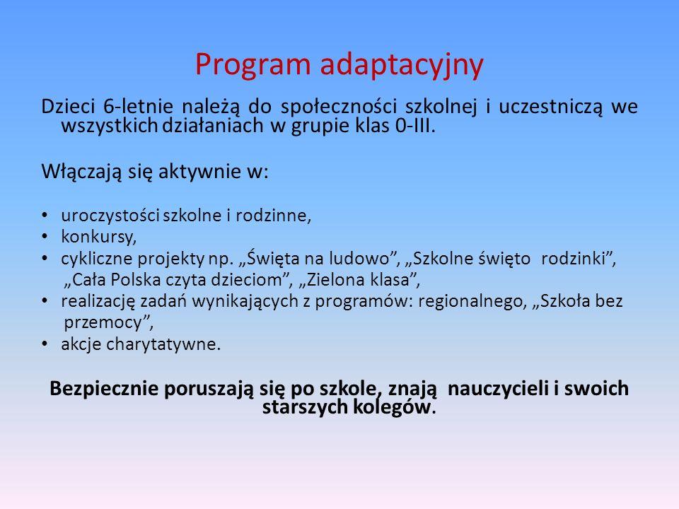 Program adaptacyjnyDzieci 6-letnie należą do społeczności szkolnej i uczestniczą we wszystkich działaniach w grupie klas 0-III.