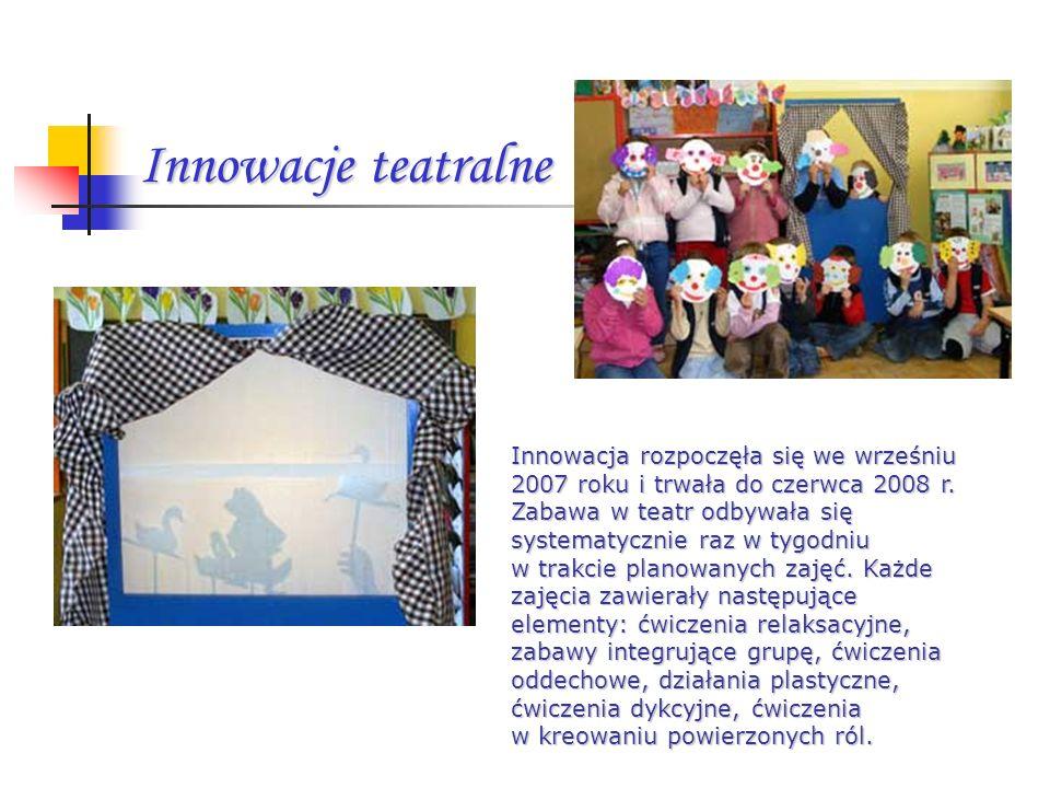 Innowacje teatralne Innowacja rozpoczęła się we wrześniu 2007 roku i trwała do czerwca 2008 r.