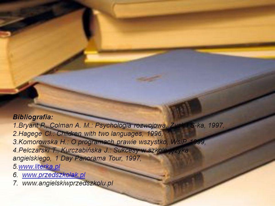 Bibliografia:1.Bryant P., Colman A. M.: Psychologia rozwojowa, Zysk i S-ka, 1997, 2.Hagege Cl.: Children with two languages, 1996,