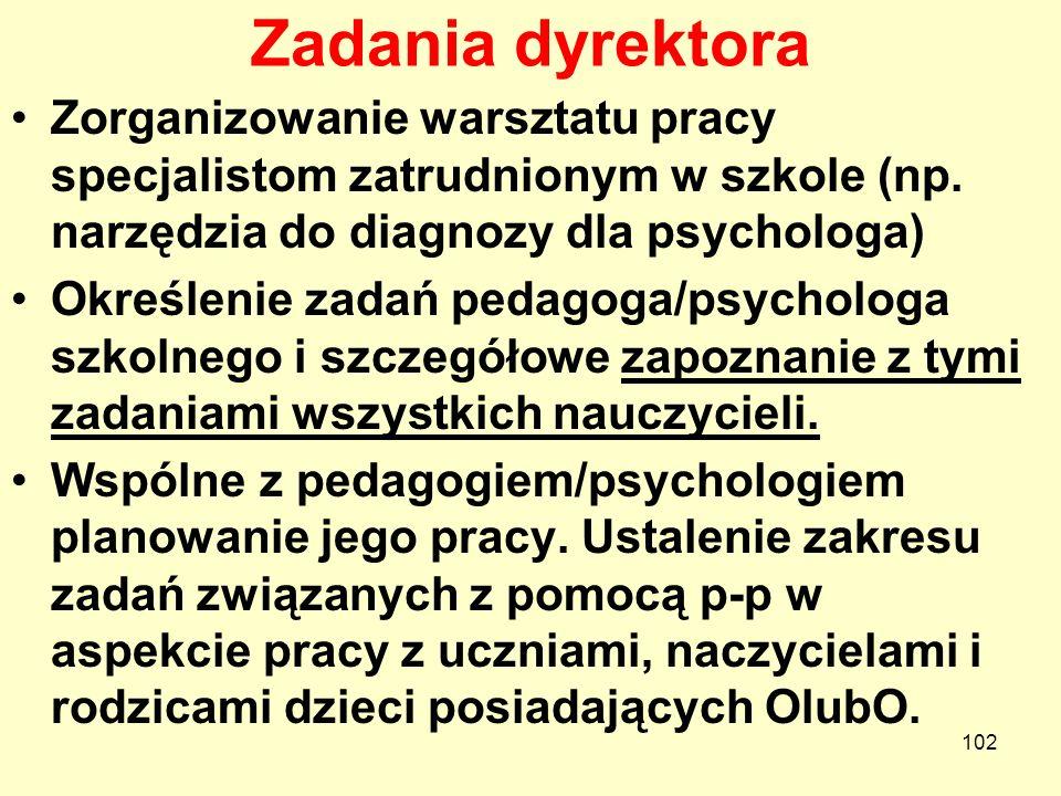 Zadania dyrektoraZorganizowanie warsztatu pracy specjalistom zatrudnionym w szkole (np. narzędzia do diagnozy dla psychologa)