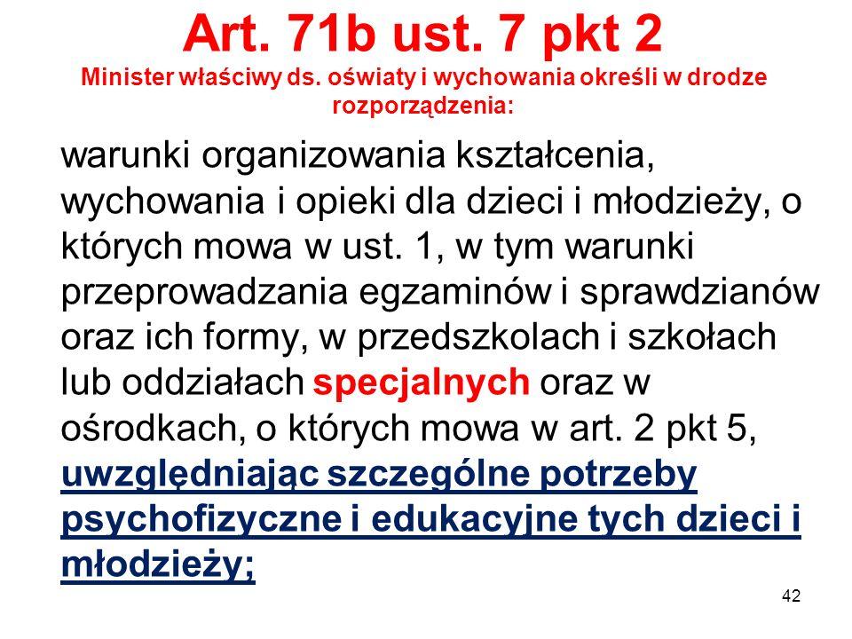 Art. 71b ust. 7 pkt 2 Minister właściwy ds