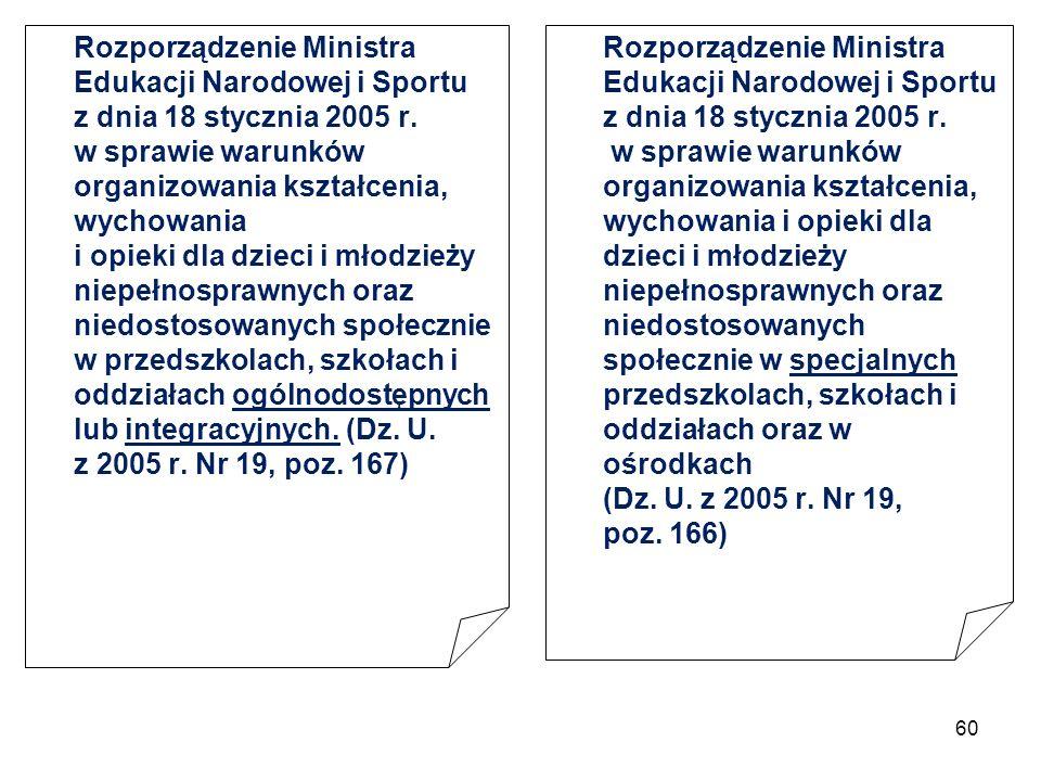 Rozporządzenie Ministra Edukacji Narodowej i Sportu z dnia 18 stycznia 2005 r. w sprawie warunków organizowania kształcenia, wychowania i opieki dla dzieci i młodzieży niepełnosprawnych oraz niedostosowanych społecznie w przedszkolach, szkołach i oddziałach ogólnodostępnych lub integracyjnych. (Dz. U. z 2005 r. Nr 19, poz. 167)