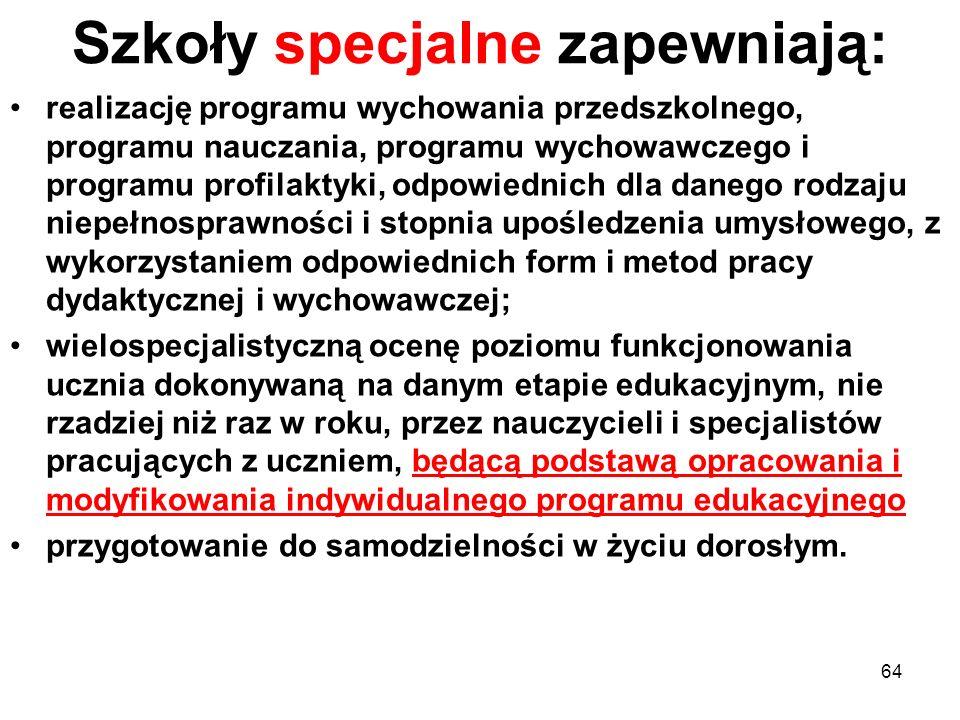 Szkoły specjalne zapewniają: