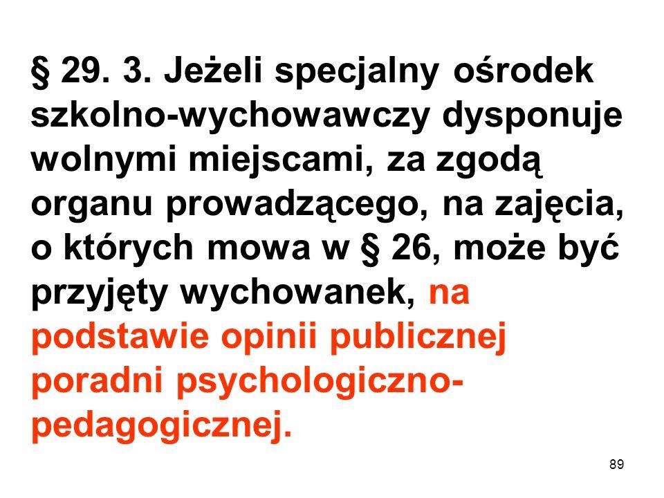 § 29. 3. Jeżeli specjalny ośrodek szkolno-wychowawczy dysponuje wolnymi miejscami, za zgodą organu prowadzącego, na zajęcia, o których mowa w § 26, może być przyjęty wychowanek, na podstawie opinii publicznej poradni psychologiczno-pedagogicznej.