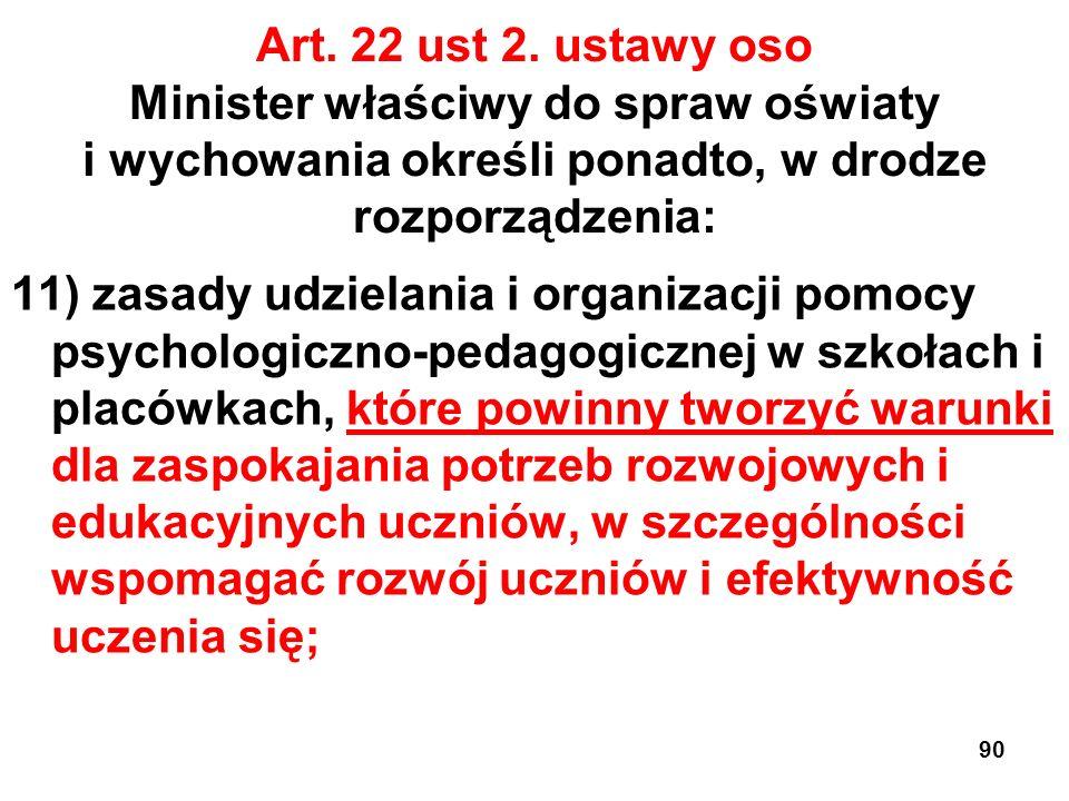 Art. 22 ust 2. ustawy oso Minister właściwy do spraw oświaty i wychowania określi ponadto, w drodze rozporządzenia: