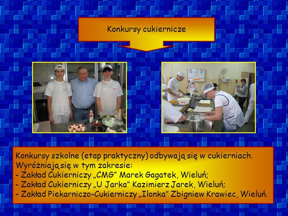 Konkursy cukiernicze Konkursy szkolne (etap praktyczny) odbywają się w cukierniach. Wyróżniają się w tym zakresie: